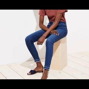 NWOT Loft double frayed hem skinny jeans